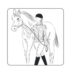 jockey woman and horse hand drawn vector image