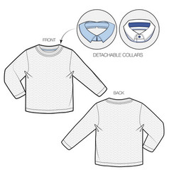Knitted pullover with detachable collars vector
