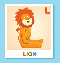l is for lion letter l lion cute vector image
