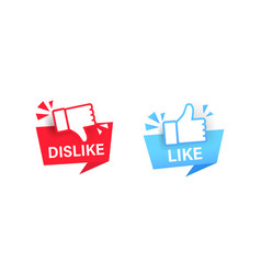 like dislike label with thumbs up icon sticker vector image