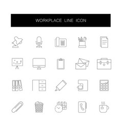 line icons set workplace pack vector image
