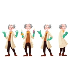 Mad professor in lab coat and green rubber gloves vector