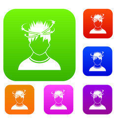 Man with dizziness set collection vector