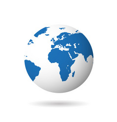 map of the world globe with shadow on white vector image