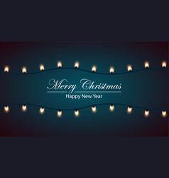merry christmas bulb yellow garland vector image