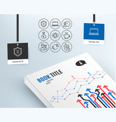 Money exchange working hours and notebook icons vector