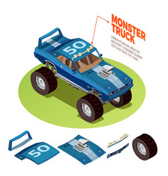 Monster car 4wd model isometric image vector