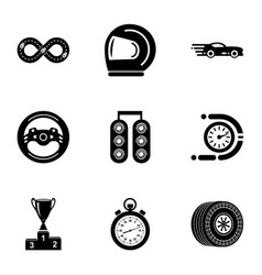 motorcycle race icons set simple style vector image