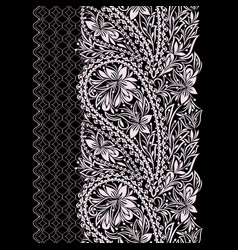 Paisley - seamless black and white border vector
