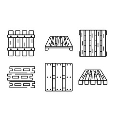 Pallet icons set outline style vector