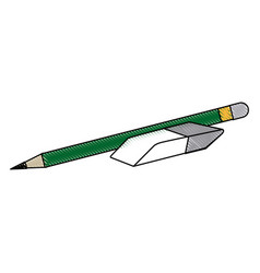 Pencil and eraser school supplies image vector