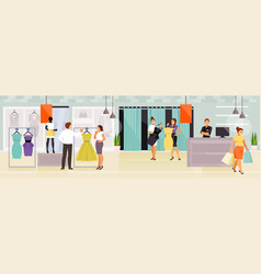 people in the clothing store vector image