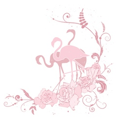 Pink flamingo and roses vector