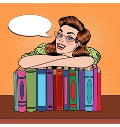 Pop Art Woman Student with Books in Library vector image vector image