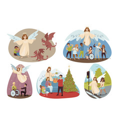 Protection religion christianity set concept vector