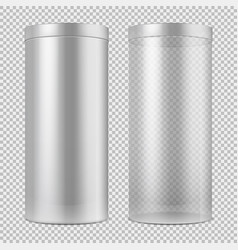 Realistic 3d empty transparent glass jar and and vector