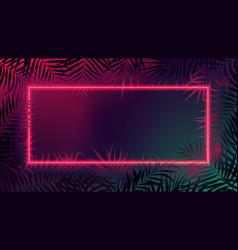 Red neon border futuristic square frame with dark vector