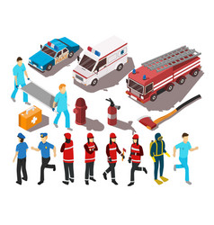rescue service isometric set vector image