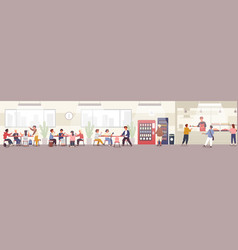 school cafeteria canteen or dining hall vector image