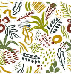 Seamless pattern with abstract tropical leaves vector