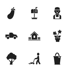Set of 9 editable planting icons includes symbols vector