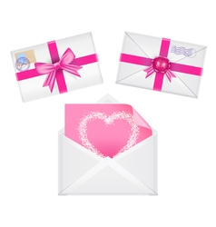Set of envelopes with ribbons vector