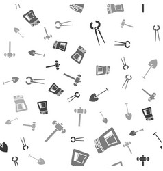 Set pincers and pliers cement bag shovel and vector