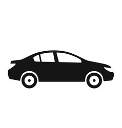 side view of car sedan black icon vector image