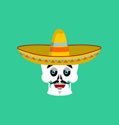 Skull in sombrero happy emoji mexican skeleton vector