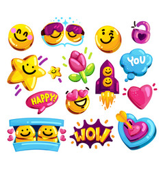 smiley face love and friends stickers set vector image