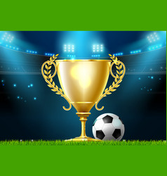 Soccer football trophy prize award on stadium vector