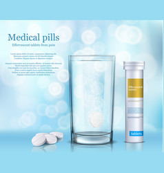 soluble round tablets in a vector image