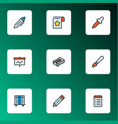 Stationery icons colored line set with brush to vector