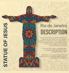 statue jesus floral pattern background vector image