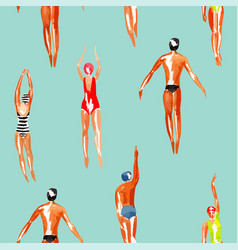Swimmer watercolor seamless background vector