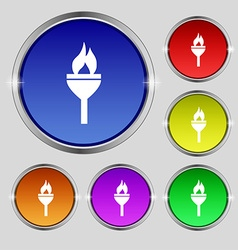 Torch icon sign Round symbol on bright colourful vector