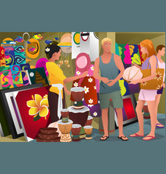 Tourist buying souvenir vector
