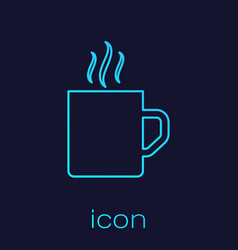 Turquoise line coffee cup flat icon isolated on vector