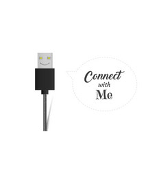 Usb cable connector cord smiling icon flat vector