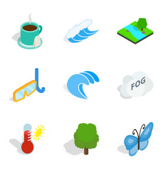 Water pastime icons set isometric style vector