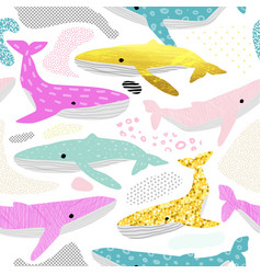 Whales seamless pattern childish background vector