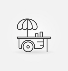Wheel market stall with umbrella outline icon or vector