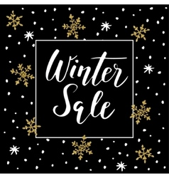 Winter sale background with handwritten text vector
