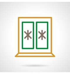 Winter window color simple line icon vector image
