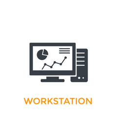 workstation icon on white vector image