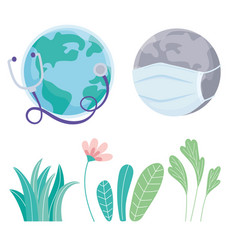 world with flowers and medical mask stethoscope vector image