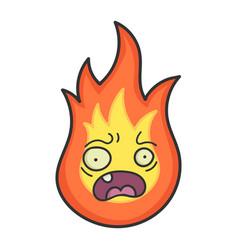 Worried fireball cartoon vector