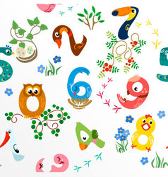 Numbers like birds seamless pattern vector image