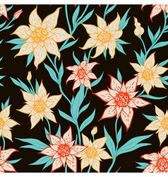 seamless pattern with orange flowers vector image vector image