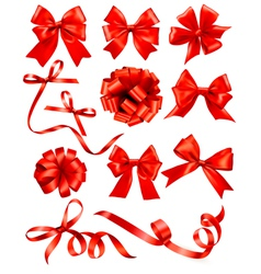 Big set of red gift bows with ribbons Stock vector image